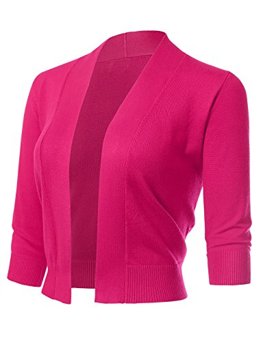 Pink Bolero - ARC Studio Women's Classic 3/4 Sleeve Open Front Cropped Cardigans (S-XL) M Fuchsia