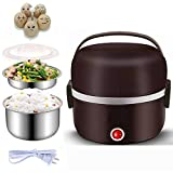 Multifunctional Electric Warmer Lunch Box Food Heater Portable Lunch Containers Warming Bento For Home Food Grade Material 2 Layers Steamer with Stainless Steel Bowls, Egg Steaming Rack, Cup (Brown)