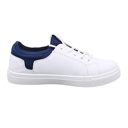 Ital-Design Damen Schuhe, 55653, Freizeitschuhe Low-Top Sneaker Weiß Blau
