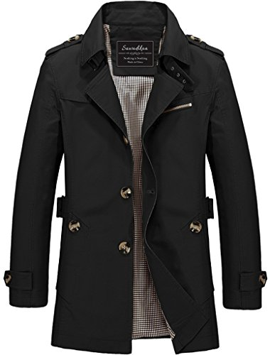 Men Black Trench Coat - 6
