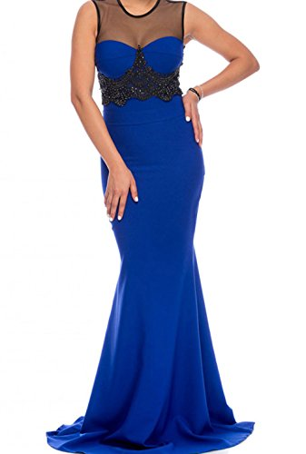 YeeATZ Mesh Splice Beaded Blue Evening Dress(Blue,S)