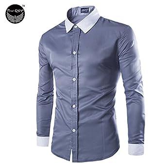 066b428c0da1 New Fashion Casual Men Shirt Long Sleeve Mandarin Collar Slim Fit Shirt Men  Korean Business Mens Dress Shirts Men Clothes M-5Xl: Amazon.in: Clothing &  ...