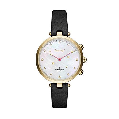 Kate Spade New York Women's Holland Slim Hybrid Stainless Steel Watch with Leather Calfskin Strap, Black, 12 (Model: KST23204)