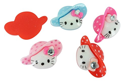 Resin Hello Kitty Gem Hat Flatback Scrapbooking Embellishments Cabochon Appliques 10 Pieces Hello Kitty Gems
