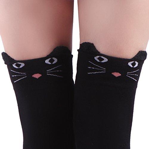 HDE Women's Extra Long Neko Cat Socks Over Knee High Stockings (Black Cat) (Halloween Cat Whiskers)