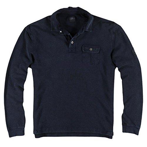 engbers Herren Poloshirt Langarm, 24642, Blau
