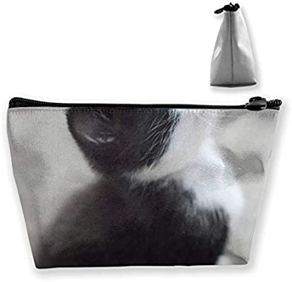Blanco y negro Divertido Gato Trapezoide Bolsa de almacenamiento Bolsa de maquillaje Bolsa Bolsa Estuche Lápiz Bolso de moda: Amazon.es: Belleza