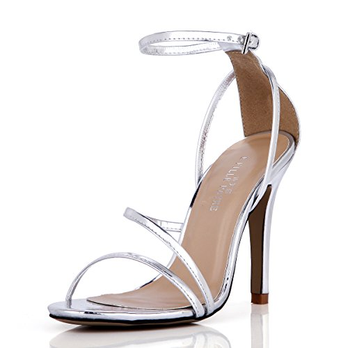 The spring and summer sandals female new minimalist evening banquet silver high-heel shoes with fine Annual Meeting Silver UFnBSCXQaE