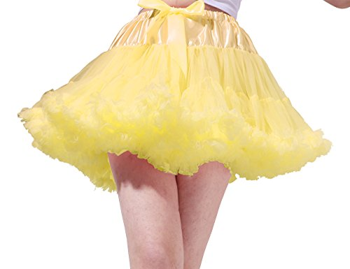 Tsygirls Women's 50s Vintage Bubble Skirt Crinoline Tutu Short Tulle Dance Petticoat Ballet Slip Chemise Underskirts Yellow Size L-XL (Cheap Pin Up Girl Halloween Costumes)