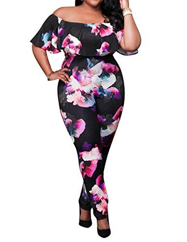AMZ PLUS Sexy High Waist Plus Size Off Shoulder Floral Romper Jumpsuits for Women Black 4XL