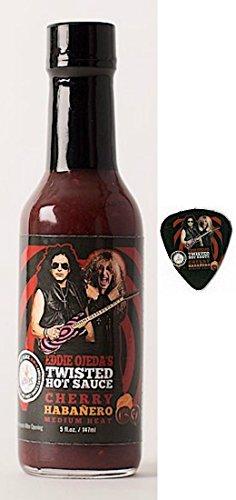 Twisted Hot Sauce Cherry Habanero - Pepper 5 FL OZ Medium Heat from Eddie Ojeda Twisted Sister Lead Guitarist - w/Dee Snider/Ojeda Signature Bulls Eye Guitar Label with Guitar Pick - Garlic Pork Tenderloin