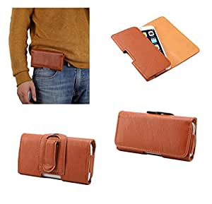 DFV mobile - Case synthetic leather horizontal belt clip for => Yezz Andy 3G 4.0 YZ1120 > Brown