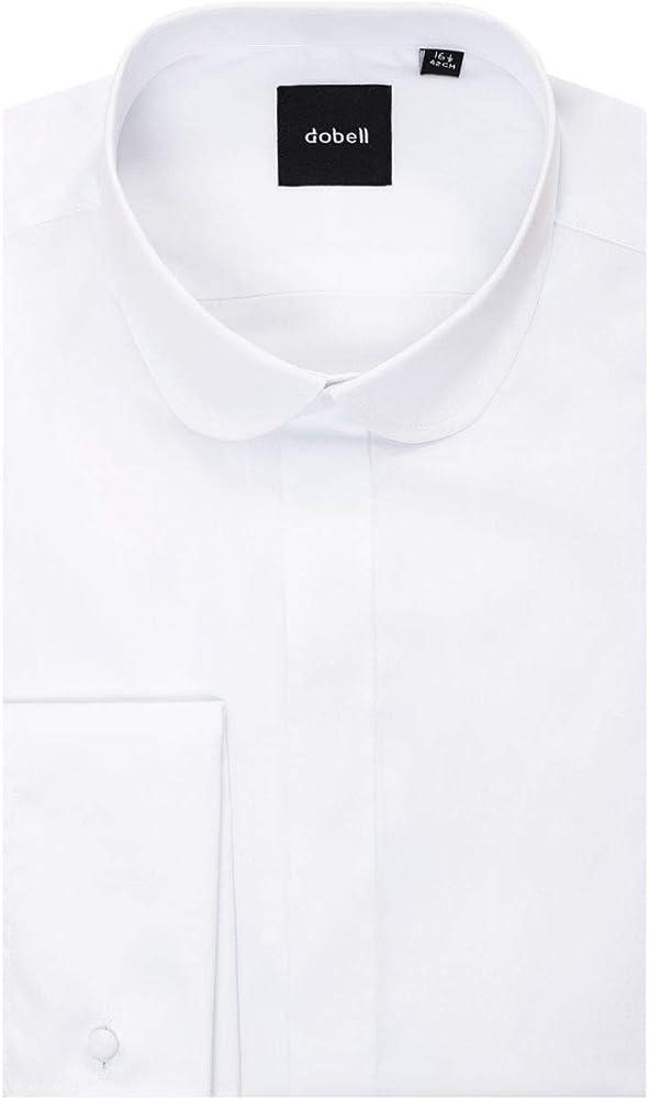 Camisa de Vestir Blanca con Cuello Redondo de Dobell-46: Amazon.es: Ropa y accesorios