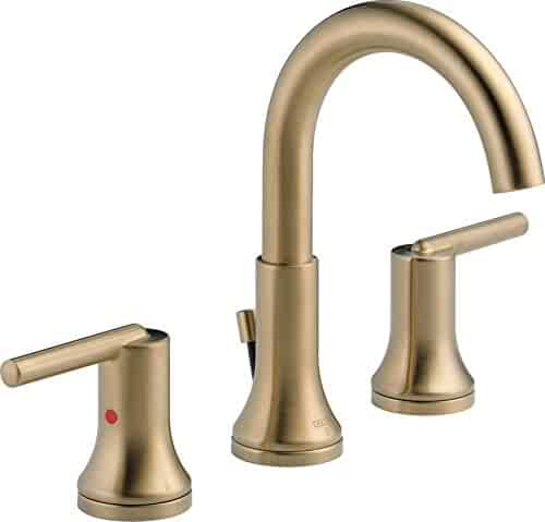 Delta Faucet Trinsic 2-Handle Widespread Bathroom Faucet with Diamond Seal Technology and Metal Drain Assembly, Champagne Bronze 3559-CZMPU-DST