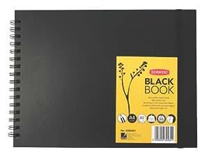 Derwent - Cuaderno de bocetos (A4, apaisado, tapa dura), color negro
