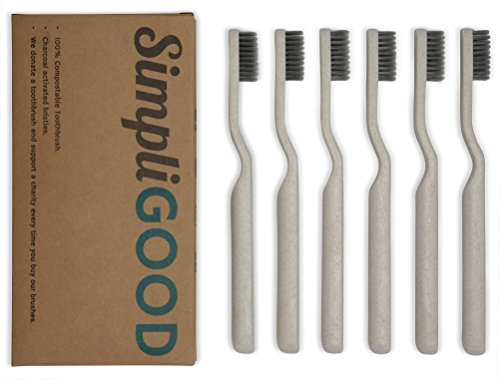 SimpliGOOD Biodegradable Toothbrushes – Soft Charcoal Activated Bristles / Biodegradable Handles / Eco-Friendly Packaging (6 Count)
