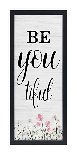 Homekor Be You Tiful Decor Sign – BeYouTiful Inspirational Framed Wall Art 21 x 9