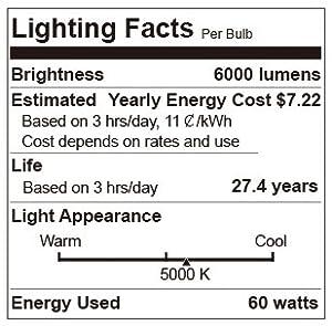 SANSI 60W (450 Watt Equivalent) LED High Bay Light, 5000K Daylight, 6000 lumens, Non-Dimmable, CRI 80, E39 Base, Bulb for Church Garage Warehouse Barn Patio Supermarket Restaurant Logistic Center