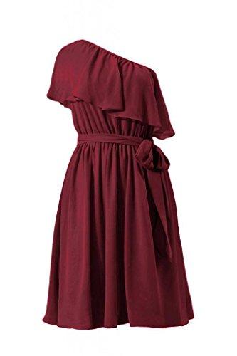 Daisyformals Asymétrique Une Robe D'honneur Cru Robe De Partie Sangle (bm1362) # 10 Écarlate Foncé
