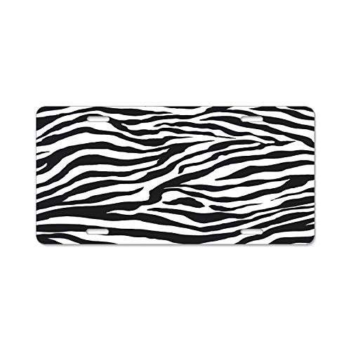 DIY Rine Zebra Stripes Black White Metal License Plate Frame Screw Caps Tag Cover