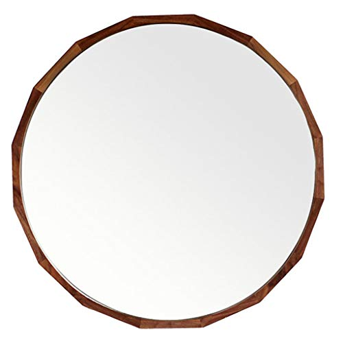 Solid Wood Wall Mirror Oak Hub Round Makeup Mirror Bathroom Vanity Mirror Contemporary Home Decor 19.7-27.6 Inch for Entryways, Washrooms, Living Rooms and More,Walnut Color