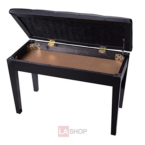 MegaBrand Leather Duet Piano Bench w/ Storage Wood Black