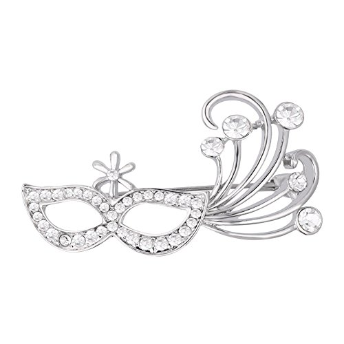 Rhinestone Designs For Dance Costumes (Cute Glassed Brooch Rhinestones Dancing Queen Costume Mask Design Brooches Pin (Platinum Plated))