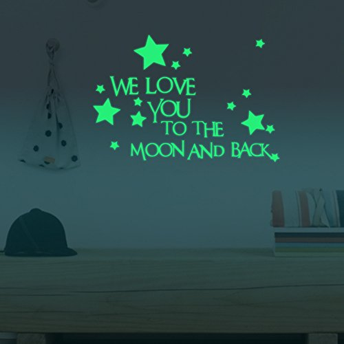 Wall Art - 24x35cm We Love You Lumino Stars Wall Stickers Home Wall Decor Decor Glow In The Dark - 1PCs