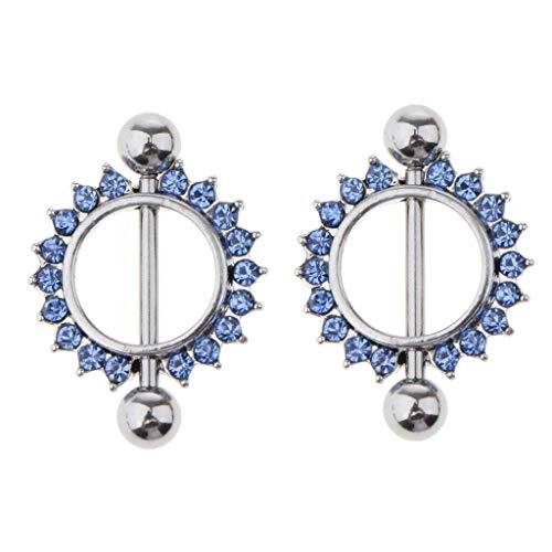 (1 Pair Stainless Steel Barbell Crystal Flower Nipple Shield Bar Ring Piercing (Pattern Gauge - Sun Flower Blue 16g))