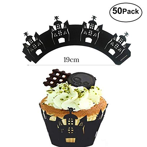 Cupcake Wrappers 50pcs/pack Halloween/Christmas Party Cupcake Liners Laser