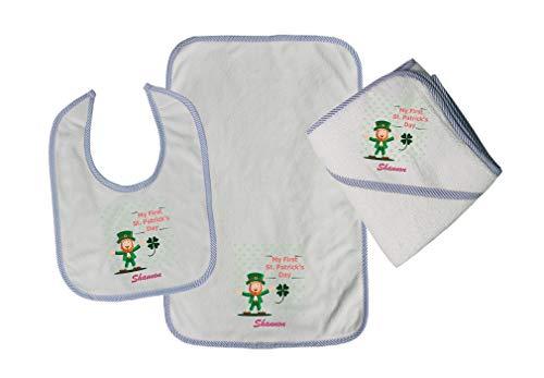 Personalized Custom My First St. Patrick's Day Cotton Boys-Girls Baby Bib-Burb-Towel Set - Blue, One Size - Patricks Baby Bib