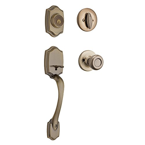 (Kwikset 96870-098 Belleview Single Cylinder Handleset with Tylo Knob Featuring SmartKey Security in Antique Brass)