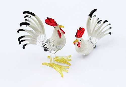 Small Rooster Figurine - ChangThai Design Farm MINIATURE HAND BLOWN Art GLASS Couple Rooster White Red Color FIGURINE Collection