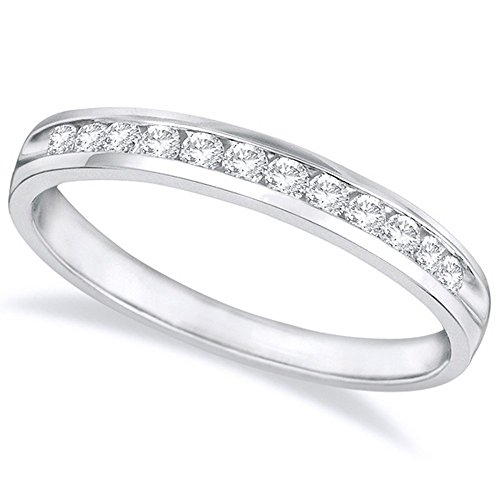 Ring Round Diamond Brilliant Eternity - 1/2 Carat (ctw) 14K White Gold Round Diamond Ladies Channel Set Half-Way Semi-Eternity Wedding Anniversary Stackable Ring Band Value Collection