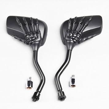 T/ête de mort /à la main Squelette Mini c/ôt/é R/étroviseur pour moto Street Naked Bike Cruiser Chopper Custom