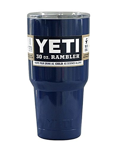 Yeti Rambler 20 Oz Tumbler, Stainless Steel, with Lid, Custom Colors (30 Oz + Handle, Navy Blue YETI)