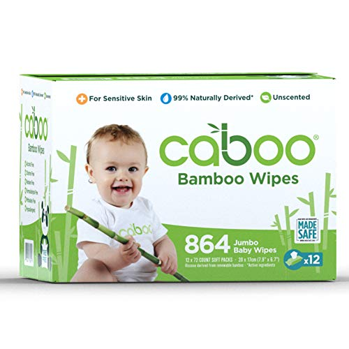 Caboo Tree Free Bamboo Baby Wipes, Eco Friendly Naturally Derived Baby Wipes for Sensitive Skin, 12 Resealable Peel Tab Travel Packs, 72 Wipes Per Pack, Bulk Total of 864 Wipes