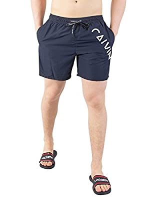 Calvin Klein Men's Medium Drawstring Swimshorts, Blue