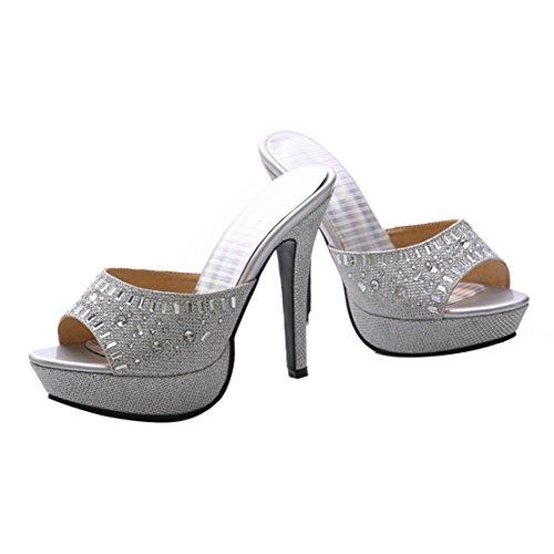 AIYOUMEI Damen Glitzer Peep Toe High Heels Plateau Pantoletten mit Strass Bequem Modern Pailletten Sandalen Silber