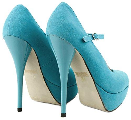 Nicole17 Mary-Jane Faux Suede Stiletto High Heel Platform Evening Dress Pump Shoes TURQ Suede iZI8OQwK