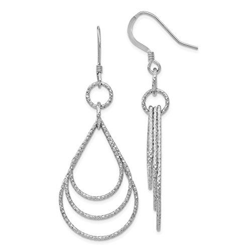 925 Sterling Silver Textured Shepherd Hook Drop Dangle Chandelier Earrings Fine Jewelry For Women Gift Set
