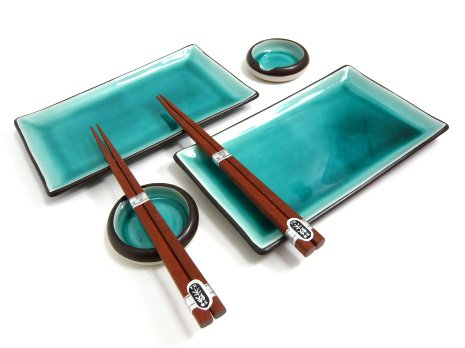 Japanese Ocean Blue Six Piece Sushi Plate Set for Two by MIYA