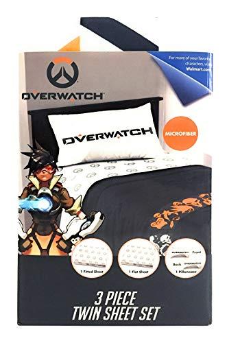 (TN 3 Piece Kids Grey Overwatch Sheet Set Twin Sized, Video Game Over Watch Bedding FPS Gamer Fan Gear, Polyester)