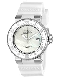 Invicta Women's 'Pro Diver' Quartz Stainless Steel and Silicone Casual Watch, Color:White (Model: 22666)
