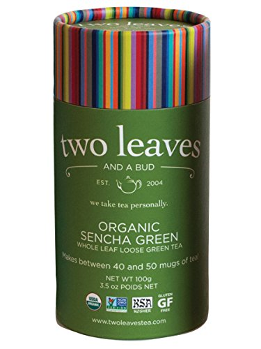 Two Leaves and a Bud Organic Sencha Green Loose Tea Cylinder, 3.5 Ounce, Organic Whole Leaf Moderate Caffeine Green Tea, Loose Leaf Cylinder, Delicious Hot or Iced with Sugar or Honey or Plain ()
