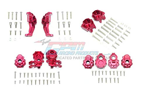 (Traxxas TRX-4 Defender/Tactical Unit/Ford Bronco/Blazer Upgrade Parts Aluminum Front + Rear C Hub, Rear Gear Box Mounts, Front + Rear Knuckle Arms - 104Pc Set Red)