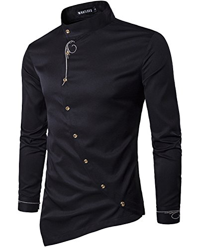 Trensom Men's Casual Long Sleeve Oblique Button Down Dress Shirt Tops With Embroidery Black - Black Designer