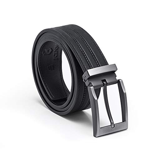 Men's Cow Leather Embossed Belt Casual Belts 1-3/8