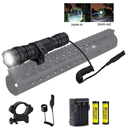 (BESTSUN Tactical Flashlight, 1200 Lumen Zoomable Hunting Flashlight Waterproof LED Torch with Pressure Switch, Rail Rifle Mount, Rechargeable Batteries and Charger)