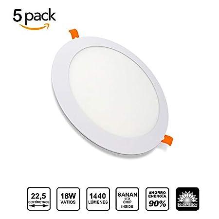 Pack de 5 Paneles LED Redondos ECOMAX /· Downlight LED para Encastrar Extrafino de 20W con 2000 L/úmenes /· 6000K Luz Blanca Fr/ía /· LED con 225mm de di/ámetro /· 2 A/ños de Garant/ía Clase Energ/&eacu
